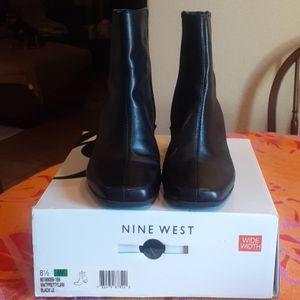 Black Nine West Zip Leather Boot 8.5 W